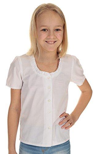 Isar-Trachten Kinder Dirndl Bluse Trachtenbluse Mädchen Kurzarm mit Rüsche 44943 Weiß Gr. 92