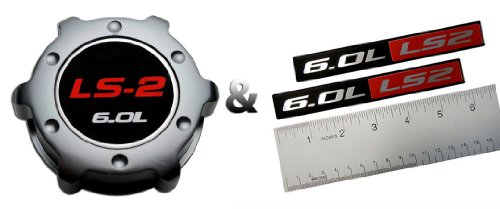 COMBO - LS2 6.0L GUNMETAL OIL CAP in Billet Aluminum + 2 x (pair/set) RED BLACK 6.0L Liter LS2 Real Aluminum Engine Hood Emblem Badge Nameplate Crate for 05-07 Chevy Corvette 06-07 Cadillac CTS-V 05-06 Chevrolet SSR 06-09 Chevrolet Trailblazer SS 05-06 Pontiac GTO 6.0L 08-09 Saab 9-7X Aero 05-06 Vauxhall Monaro VXR 04-07 Holden Special Vehicles