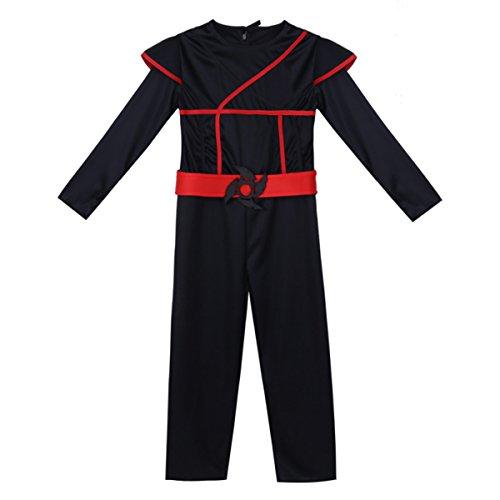 TiaoBug Jungen Ninja Kostüm Set aus Anzug, Maske, Gürtel, 4 Bänder für Ärmel und Knöchel komplette Kostüme Cosplay Karneval Fasching Outfits für Kinder 4-10 Jahre Schwarz 128-140/8-10 Jhre (Unten Knöchel-länge Herren)
