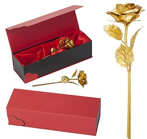 Remmo&Love LUXUS Goldene Vergoldete Gold Rose für Ewige Liebe mit 24K Gold veredelt Geschenk Valentinstag Jahrestag Hochzeitstag Geburtstag Muttertag Weihnachten Romantische Liebes Geschenk Idee