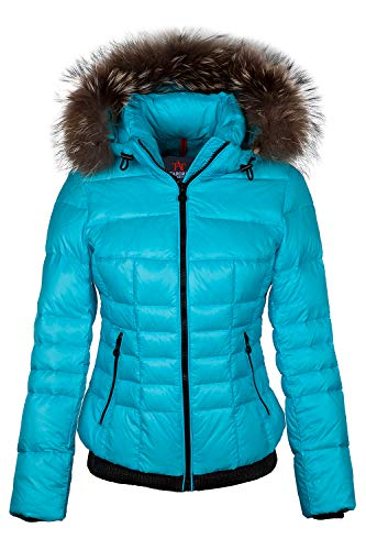 Grimada M650 Damen Daunenjacke Skijacke TARORE mit Echtfellkapuze (34, blau)
