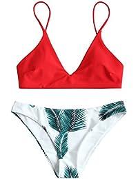 ZAFUL Damen Push Up Gepolsterter Bikini-Set Blatt Drucken Badehose Bademode Badeanzug