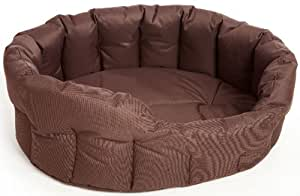 P & L Superior Pet Beds Heavy Duty Oval Waterproof Softee Beds, Large, 76 x 64 x 24 cm, Brown