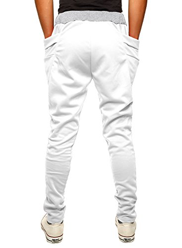 HEMOON Herren Traininghose Haremshose Sporthose Fitness Jogginghose Loose Crotch Hose Weiß