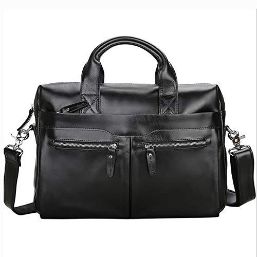 HRUIIOIH Mens 16 Laptop Messenger Bag, Leder Vintage Taschen, Carry Case Datei PC Tasche Geschenke für Weihnachten Neujahr Geschenk,Black - Leder Datei Tragetaschen