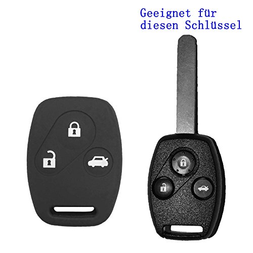 Rosso Sale® 1X NERO CHIAVE dell' automobile vw seat skoda Custodia in silicone gomma 3tasti telecomando chiave