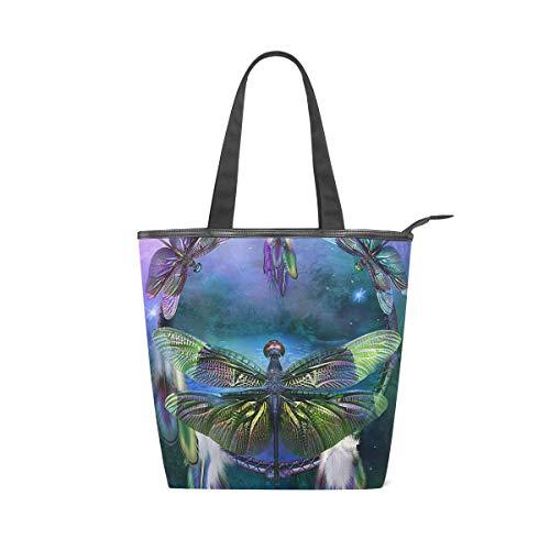 XiangHeFu Damen Handtaschen Floral Dragonfly Ring Tote Canvas Umhängetasche -