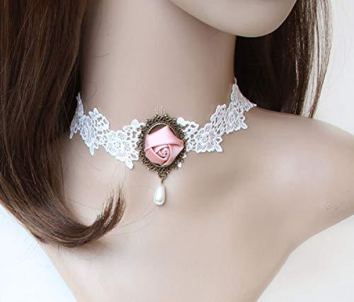 Jjzhy accessori in pizzo collana da sposa da donna accessori clavicola catena regalo fidanzata,bianca,taglia unica