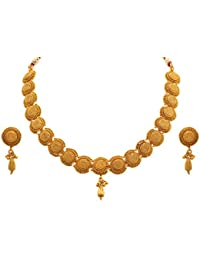 Jfl - Jewellery For Less Traditional Ethnic One Gram Gold Plated Spiral Designer Necklace Set With Jhumka Earrings...