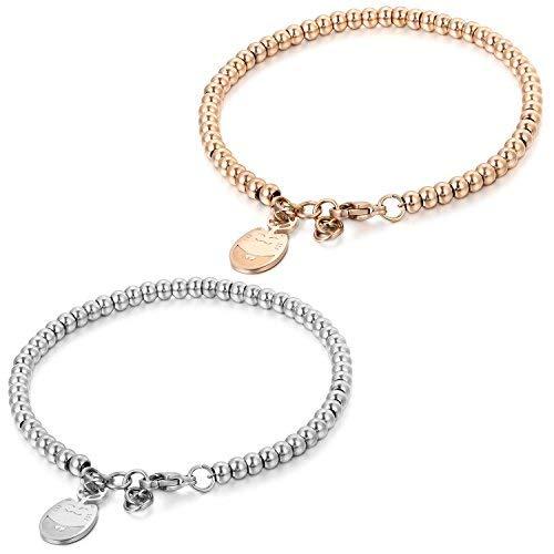 JewelryWe Gioielli Braccialetto fortunato per le donne, acciaio inossidabile lucido, Bracciali per spose, Palle stile semplice, Pendente adorabile gatto per fortuna, Colore Argento Rosa dell'oro, 2PCS