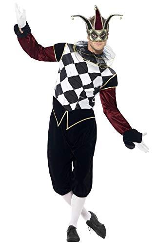 Smiffys, Herren Gothic Venezianischer Harlekin Kostüm, Oberteil, Hose und Kragen, Größe: M, 43653 (Einfache Venezianische Kostüm)
