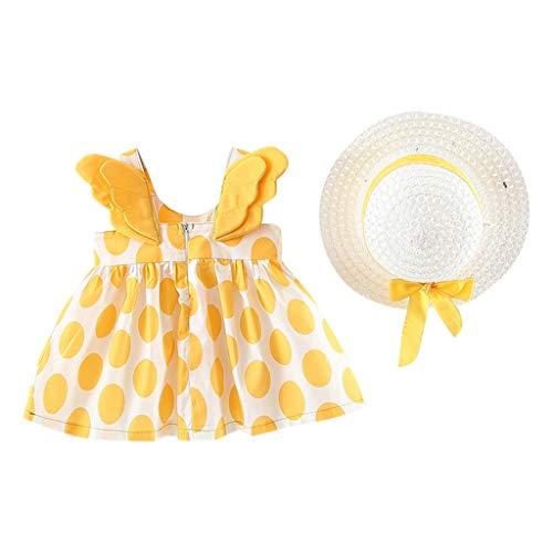 2019 Neugeborenes Baby Mädchen Kleid, Evansamp Fashion Dot Print Rock Flügel Casual Prinzessin Party Sommerkleid Hut Kleid(Gelb,80)