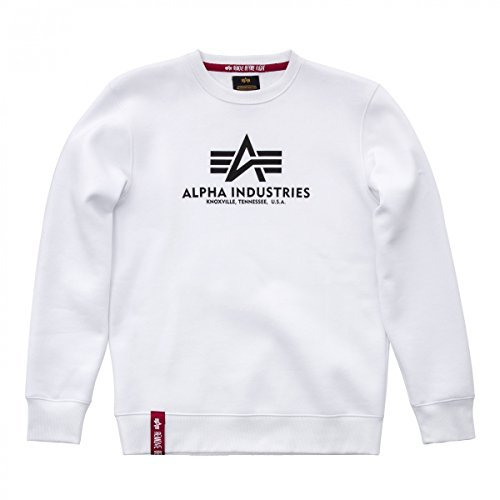 Saum-label (Alpha Industries Basic Sweatshirt Weiß M)