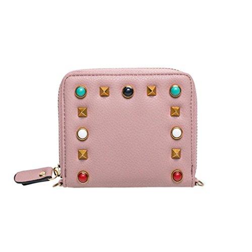 Longra la moda delle donne di colore gemstone rivetti, borsa, breve lampo, diagonale in borsa, portafoglio, borsa piccola Rosa