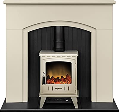 Adam Madison Stove Suite in Stone Effect with Aviemore Electric Stove in Cream, 48 Inch