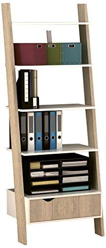 """Cribel ndash; Bücherregal """"Nature"""", gefertigt aus Eiche-Naturholz mit weißen Applikationen, Maße: 65 x 45 x 176,4 cm (Bücherregal Maße)"""