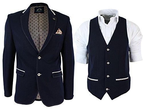 Veste Mens Slim Fit Navy Blue Cream Garniture Blazer Ou Gilet Décontractée marine (Waistcoat)