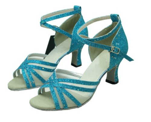 Latino Brilhante Dança Calçados Ciano Femininos Pobofashion americana Para wTqpx4xvn