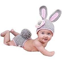 Malloom® Niña y niño Recién Nacido 0-9 Meses lindo conejo hecho a mano punto de ganchillo Beanie Sombreros animales ropa traje Fotografía Proposición equipo