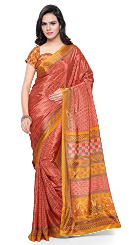 Triveni Sarees Women's Jute Saree With Blouse Piece (Tssu13305_Orange)