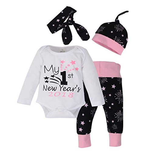 Price comparison product image Baby Clothing Sets,  Familizo Newborn Baby Girls Christmas Outfits Clothes Romper+Pants + Hat Headband Set 4 Pcs (12 months,  White)