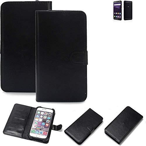 K-S-Trade® 360° Wallet Case Handyhülle Für ZTE Blade V8 64 GB Schutz Hülle Smartphone Flip Cover Flipstyle Tasche Schutzhülle Flipcover Slim Bumper Schwarz, 1x