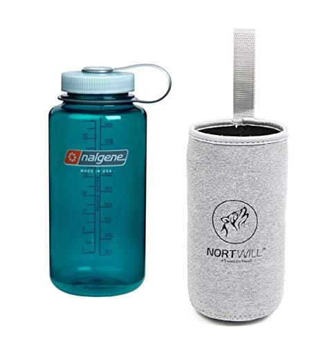 Nortwill - Nalgene Trinkflaschen-Set - Tritan Wide Mouth 32oz Wasserflasche, BPA-frei, mit isolierter Flaschenhülle, Trout Green + Gray Sleeve - Wide 32 Nalgene Oz Mouth