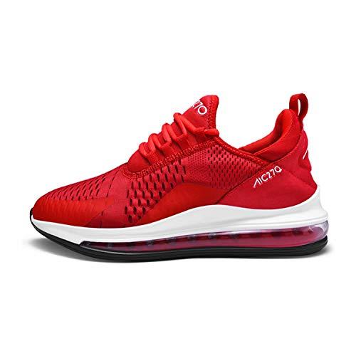 QL Mina Herren Atmungsaktive Leichte Modisch Turnschuhe Outdoor Freizeit Fitness Schuhe Joggingschuhe Mesh Lace-up Sneakers Red_White-B EU46