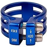 Ckeyin® 34.9mm Seatpost Abrazadera Tija de Sillín de Aleación de Aluminio con Doble Tornillo Accesorios de Bicicleta (Azul)