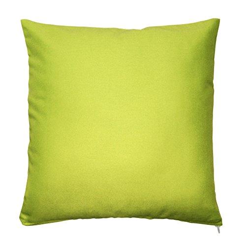 Kissenbezug Kissenhülle 100% Baumwolle mit Reißverschluss Zierkissen Kissen Bezug ca. 40x40 cm in Limette Grün Uni