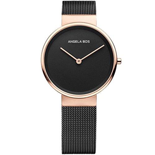Angela Bos de la mujer ultra delgado Simple acero inoxidable cuarzo reloj de pulsera para hombres 8010negro