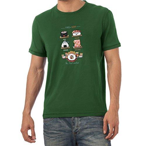 NERDO - Types Of Sushi - Herren T-Shirt Flaschengrün