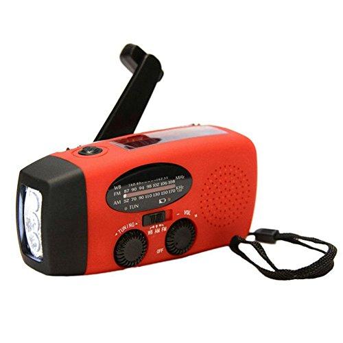 SODIAL Radio meteo de generateur de manivelle multifonctionnel auto-alimente solaire AM/FM/NOAA Utilisez comme lampe de poche LED de secours et banque de puissance