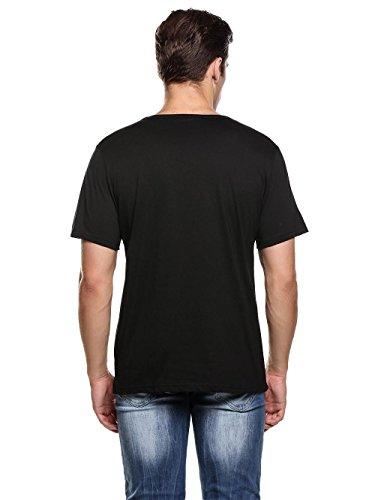 Herren T-Shirt Kurzarmshirt Top Dragon Print Shirt Casual Basic O-Neck B-Schwarz