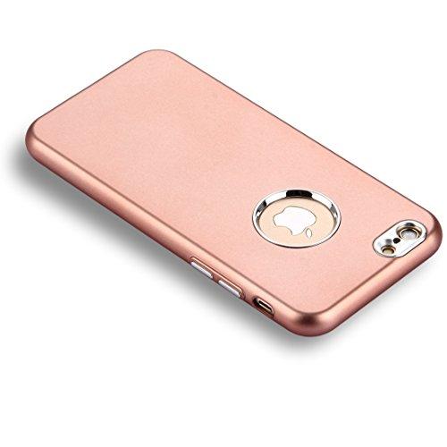 GHC Cases & Covers, Für iPhone 6 u. 6s reine Farben-Öl-Auslauf-weiche TPU-Metallknopf-schützende Fall-rückseitige Abdeckung ( Color : Gold ) Rose gold