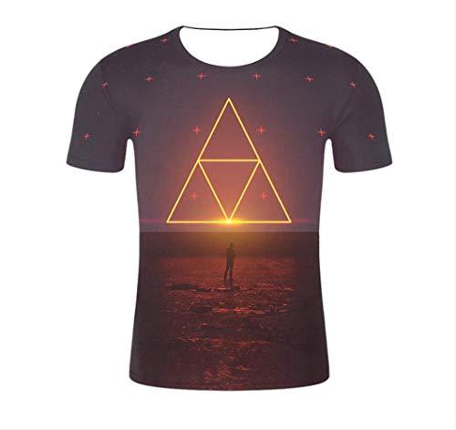 3D Gedruckte T-Shirts Dreieck Männer Kompressionshemd Raglan Kurzarm Kostüm Schnell Trocknend Kleidung Tops Männlich -XL (Schnelle Und Einfache Halloween Kostüme Männlich)