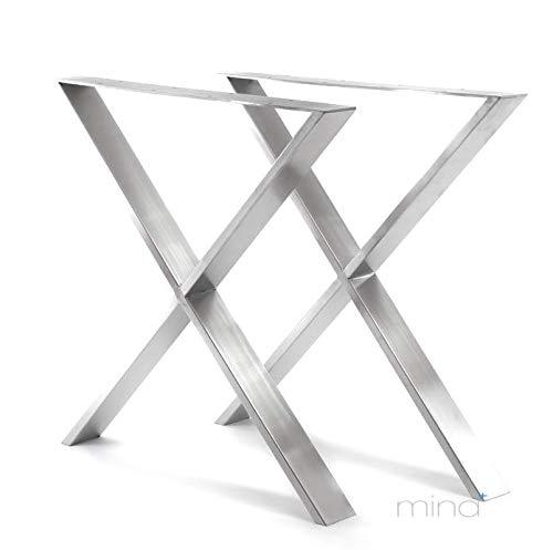 mina concept Tischgestell X-Form modern I 70 x 30 mm Profil I hochwertiger Edelstahl gebürstet I 72 cm hoch I Indoor & Outdoor I Untergestell für ESS-, Schreib-, Gartentisch etc. I 1 Paar (2 Stück)