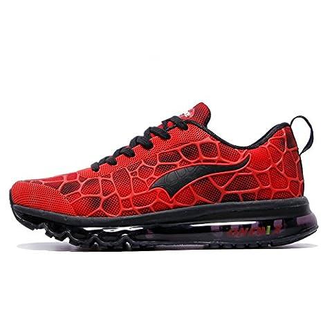 Onemix Herren Air Laufschuhe Sportschuhe mit Luftpolster Turnschuhe Leichte Schuhe Rot schwarz Größe 43 EU