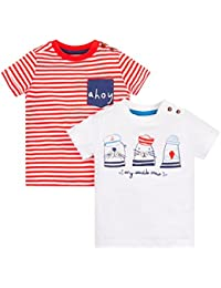 Mothercare Baby Boys' Striped Regular Fit T-Shirt (Pack of 2)