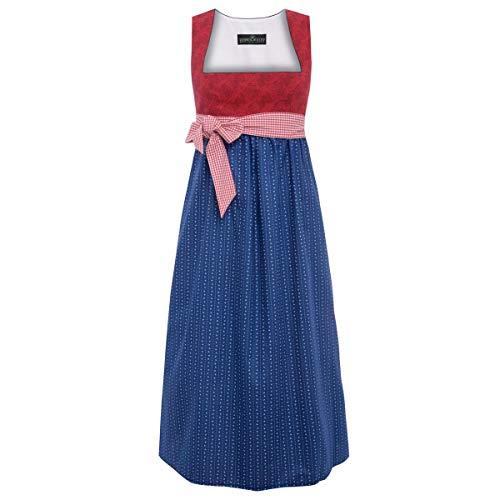Trachten für Schwangere Annamirl in Rot und Blau mit Ornamente und mit karierter Schleife
