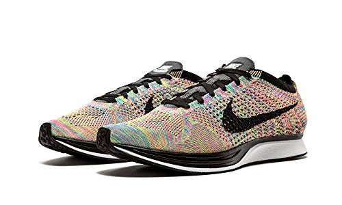 Nike Flyknit Racer, Chaussures de Running Entrainement Homme Dark Grey/Blue Glow/Pink Foil/Black