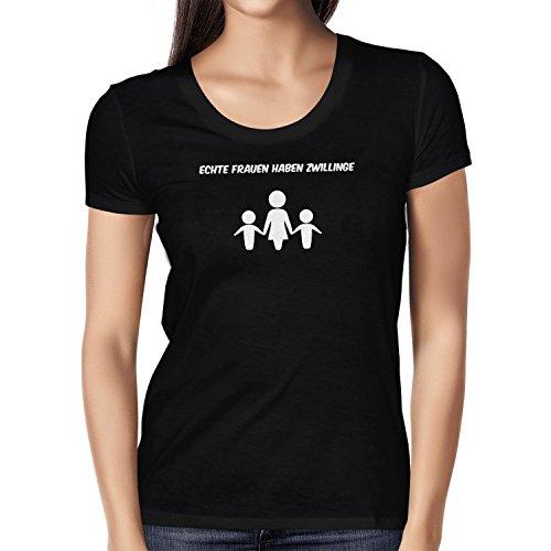 Texlab Echte Frauen Haben Zwillinge - Damen T-Shirt, Größe M, Schwarz