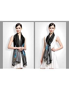 2017 Moda Mujer Bufandas bandana Pañuelo de seda mujeres Mantón Imprimir hijab 180x90cm,negro