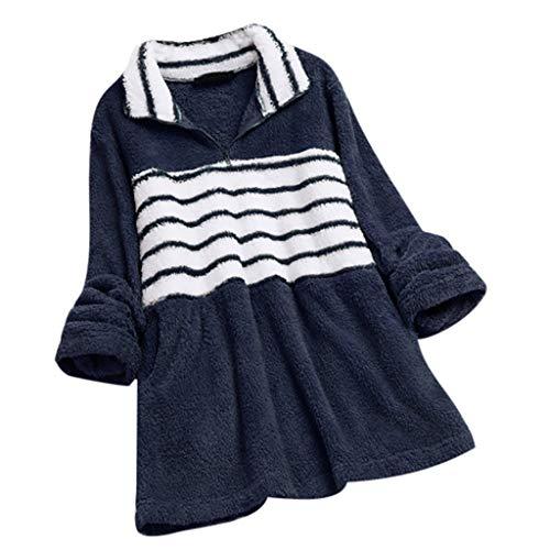 LSAltd Frauen 2019 Mode Streifen Farbe Patchwork Langarm Reißverschluss Revers Kragen Plus Größe Lange Sweatshirt Bluse Beiläufige Einfache Bequeme Baumwolle Warme Pullover Tops -