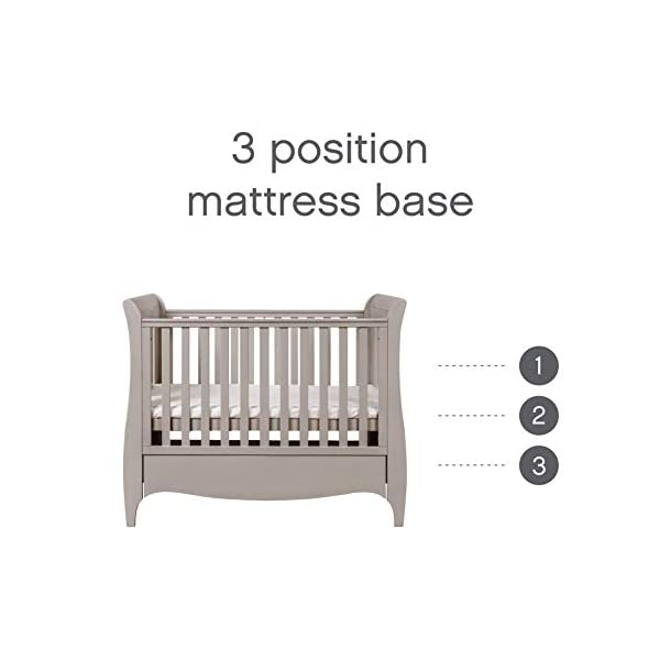 Tutti Bambini Roma Wooden Sleigh Cot Bed with Space Saver Under Bed Drawer - 120 x 60cm 3 Adjustable Positions (Truffle Grey) Tutti Bambini BIRTH TO 4 YEARS - Can be used as a Cot Bed from birth and then converted into a sofa or junior bed suitable up to 4 years ADJUSTABLE BASE - Three position adjustable mattress base, allowing easy access to little ones UNDER BED DRAWER - Classic sleigh design with under-bed drawer for extra storage, available in White or Espresso finish 3
