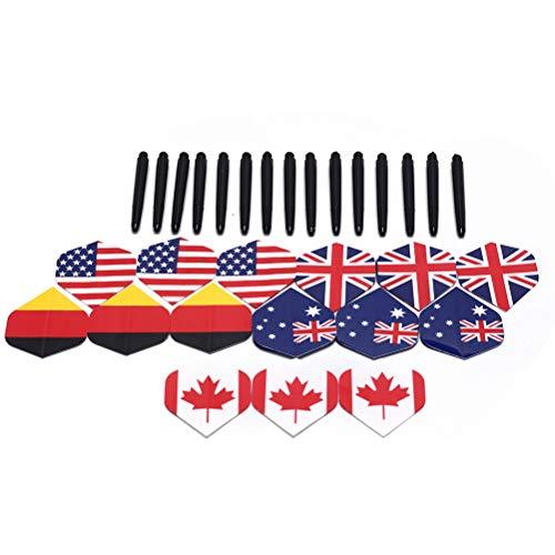 FADACAI 15 Set Nylon Dartschäfte und 15Pcs Flag Pattern Darts Flights Party Supplies -