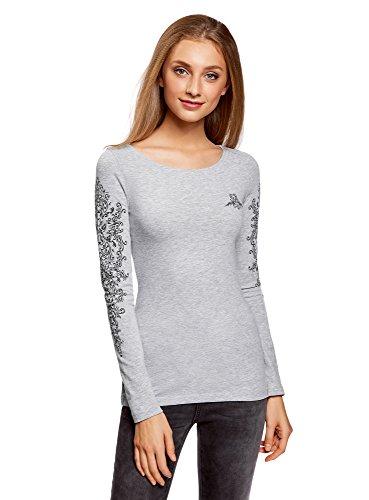 Oodji collection donna maglia in cotone con maniche lunghe, grigio, it 46 / eu 42 / l