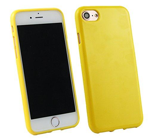 Emartbuy® Apple iPhone 7 Matt Gel TPU Etui Coque Case Cover Pack of 3 - Noir, Clair E Blue Jaune Gloss Gel