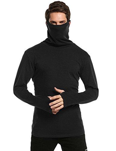 Coofandy Herren Slim Fit Pullunder Unterhemd Thermische Rollkragen Langarmshirt Sweatshirt Thermische Pullover Schwarz