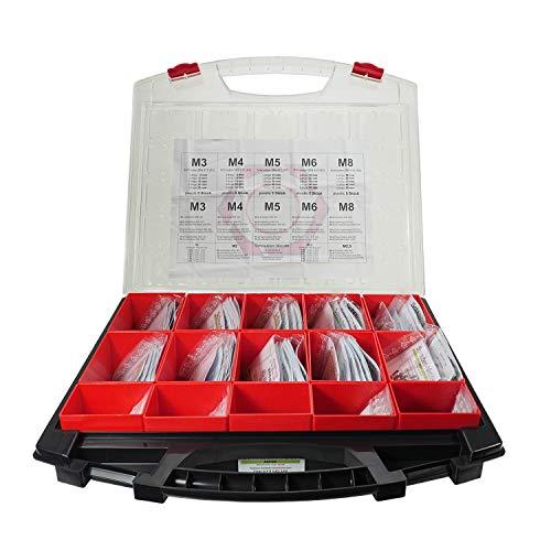 Sortiment Zylinderkopfschrauben Edelstahl DIN 912 mit mehr als 1000 Teilen - Set bestehend aus Zylinderschrauben, Unterlegscheiben und Muttern - M2 M2,5 M3 M4 M5 M6 M8 - Werkstoff A2 / V2A (AISI 304)